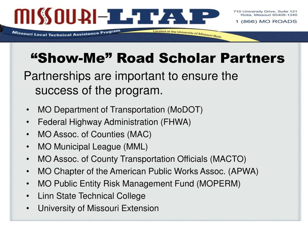 """""""Show-Me"""" Road Scholar Partners"""