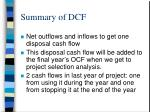 summary of dcf