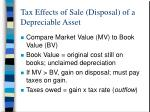 tax effects of sale disposal of a depreciable asset