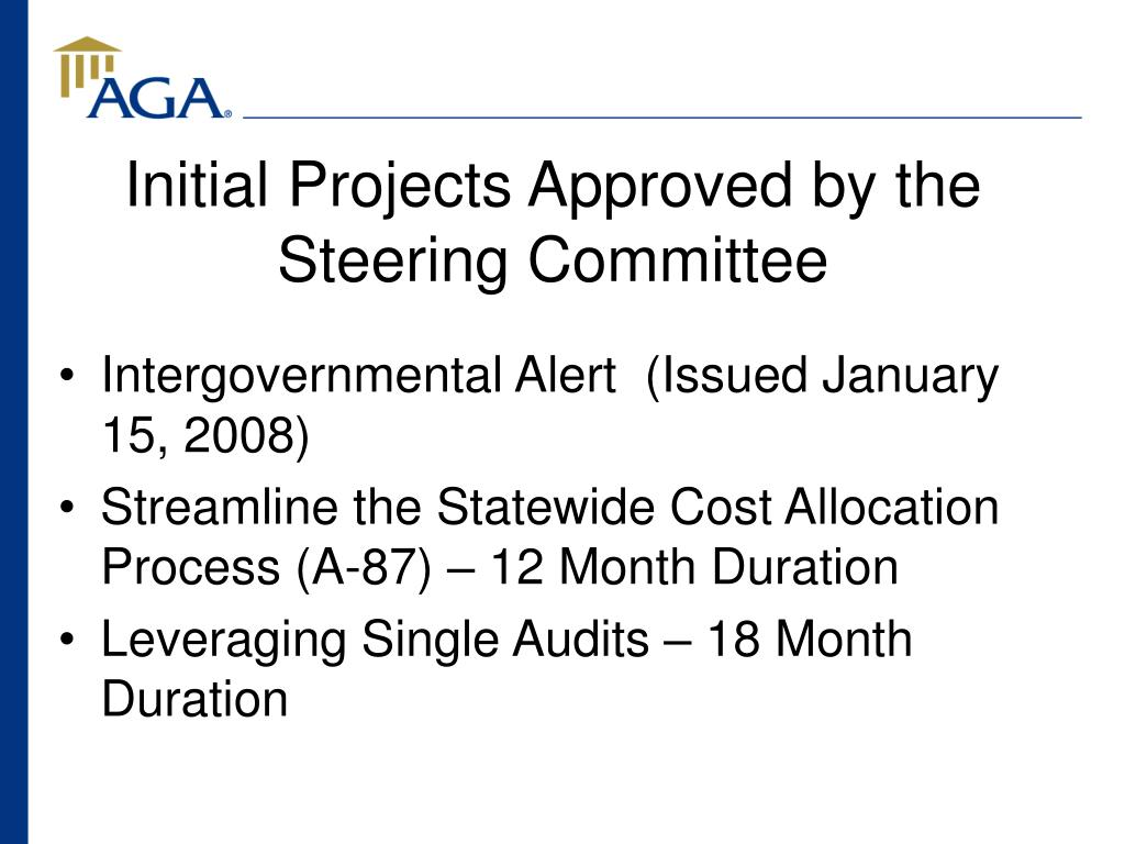 Initial Projects Approved by the Steering Committee