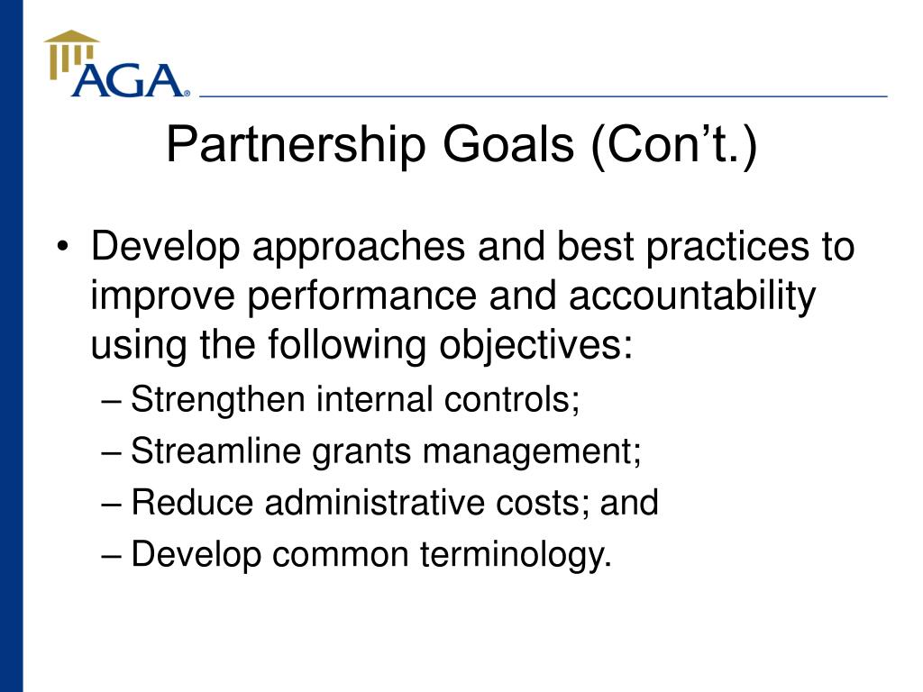 Partnership Goals (Con't.)