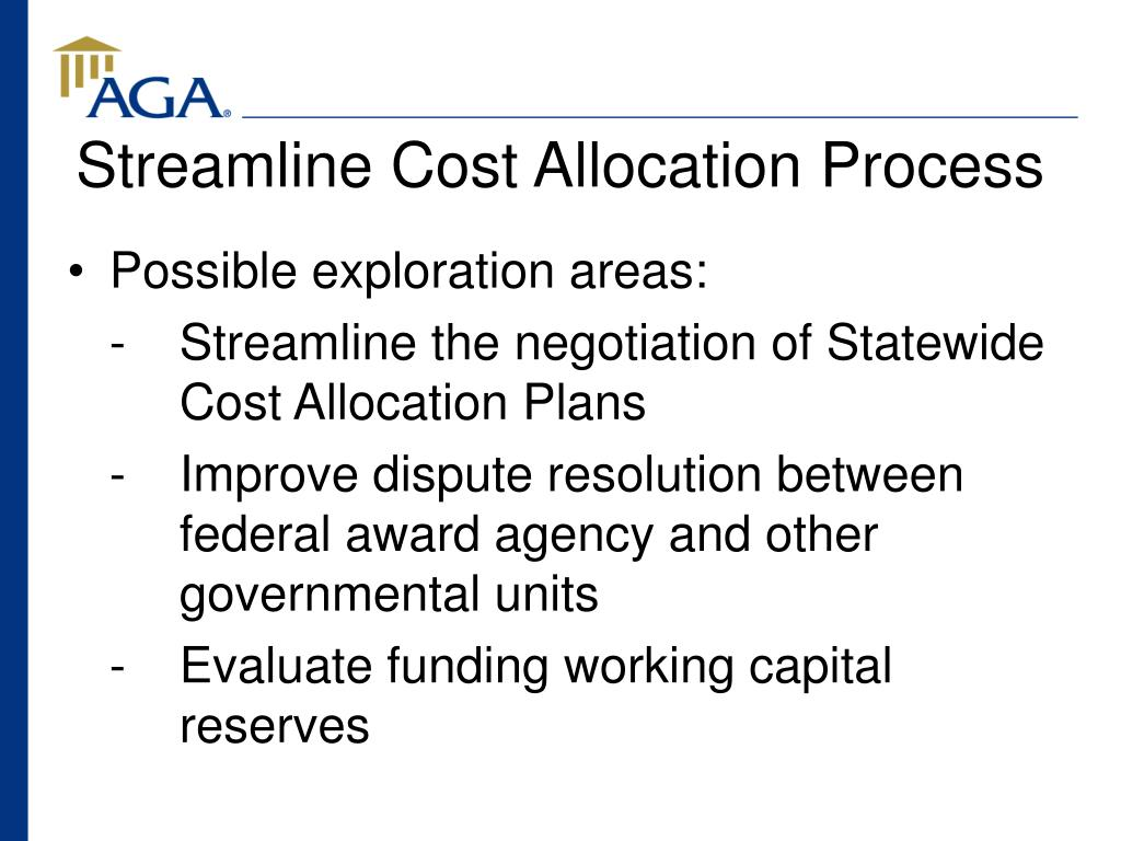 Streamline Cost Allocation Process