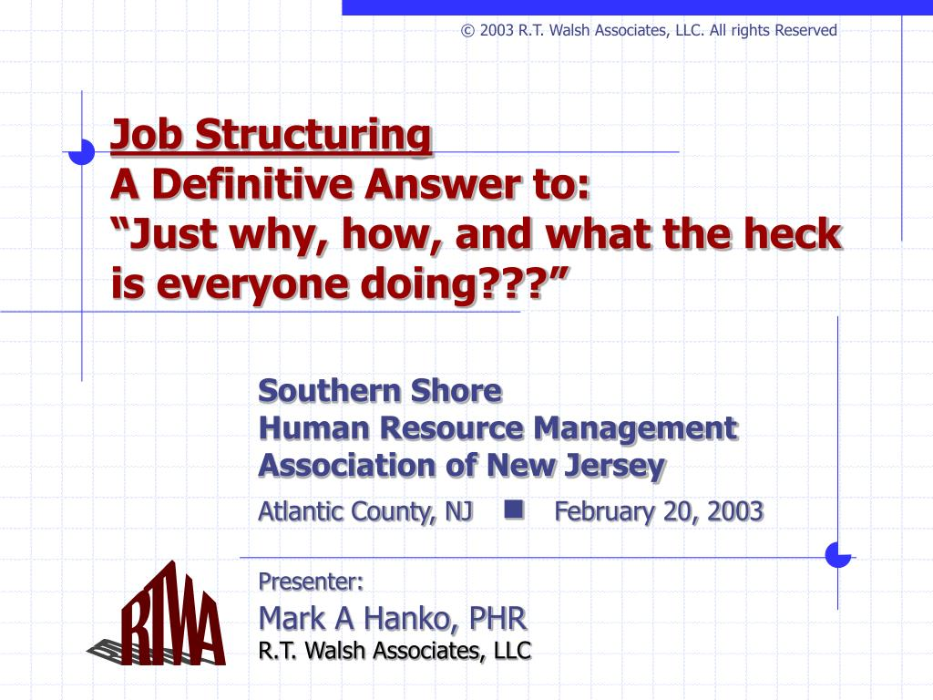 © 2003 R.T. Walsh Associates, LLC. All rights Reserved