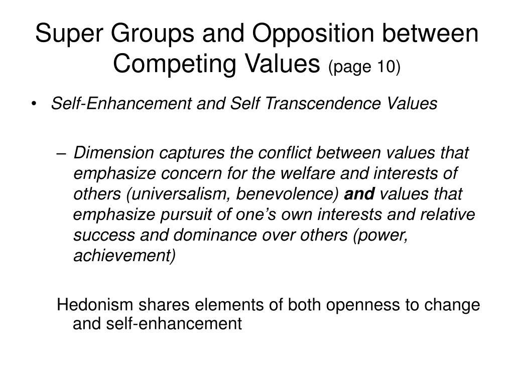 Super Groups and Opposition between Competing Values