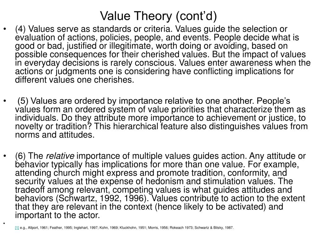 Value Theory (cont'd)