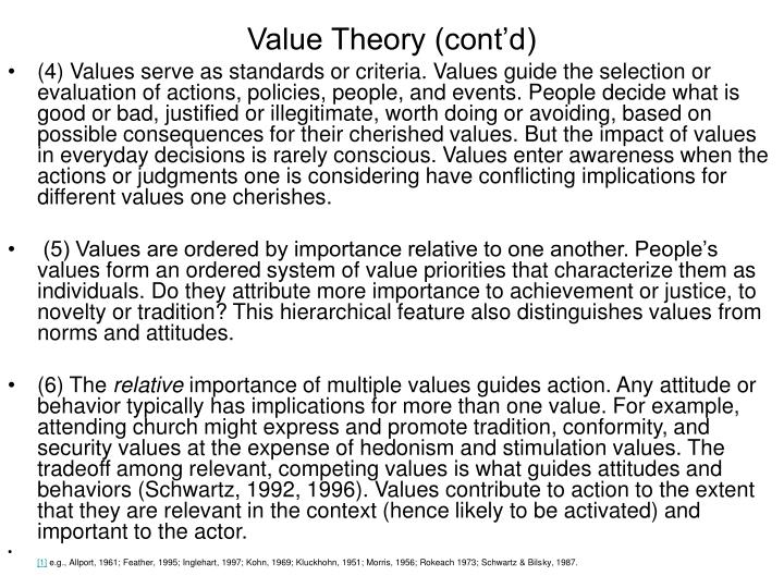 Value theory cont d