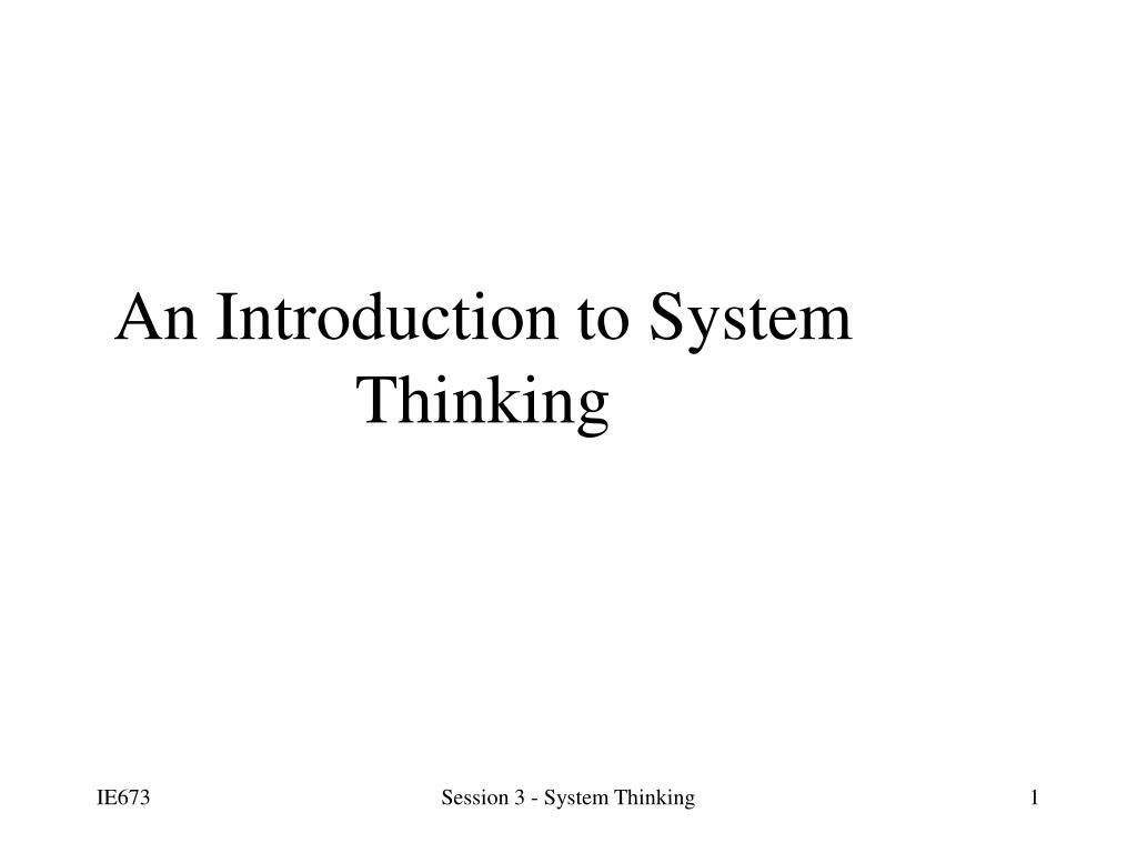 an introduction to system thinking l.