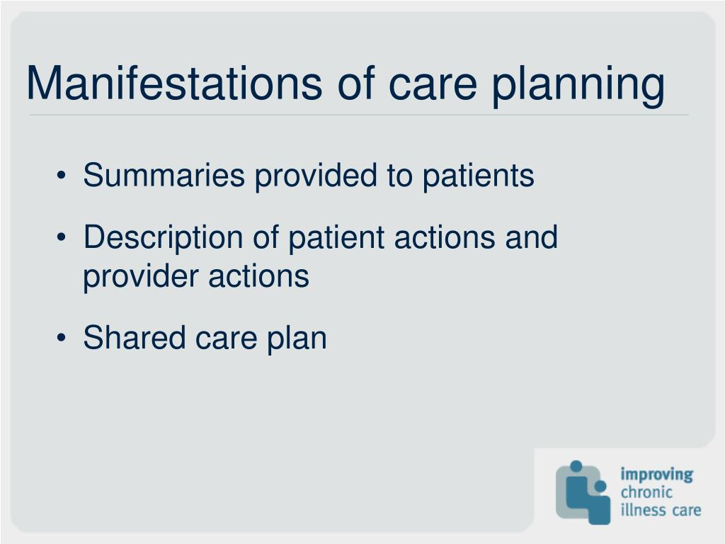 Manifestations of care planning