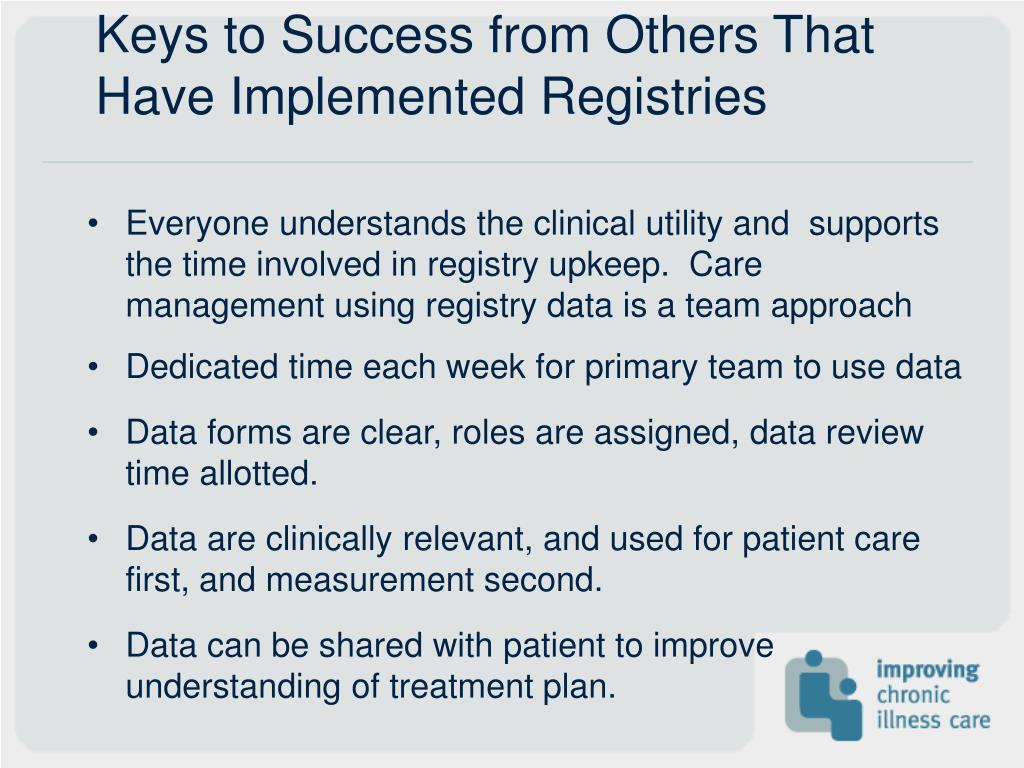 Keys to Success from Others That Have Implemented Registries