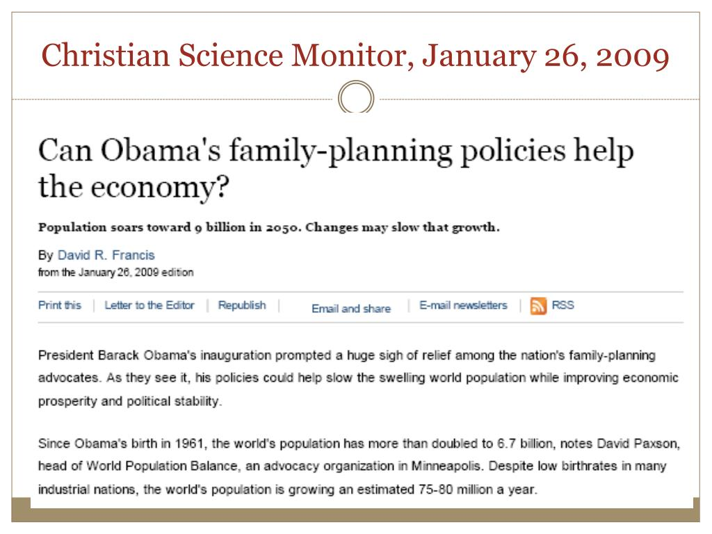 Christian Science Monitor, January 26, 2009