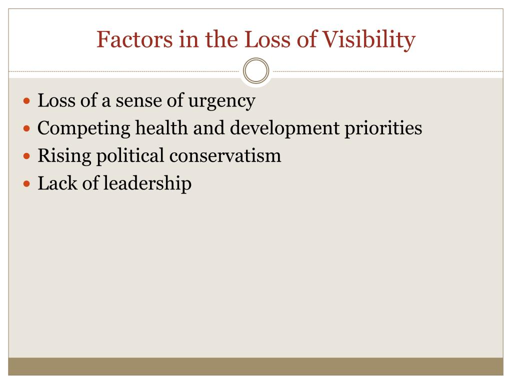 Factors in the Loss of Visibility