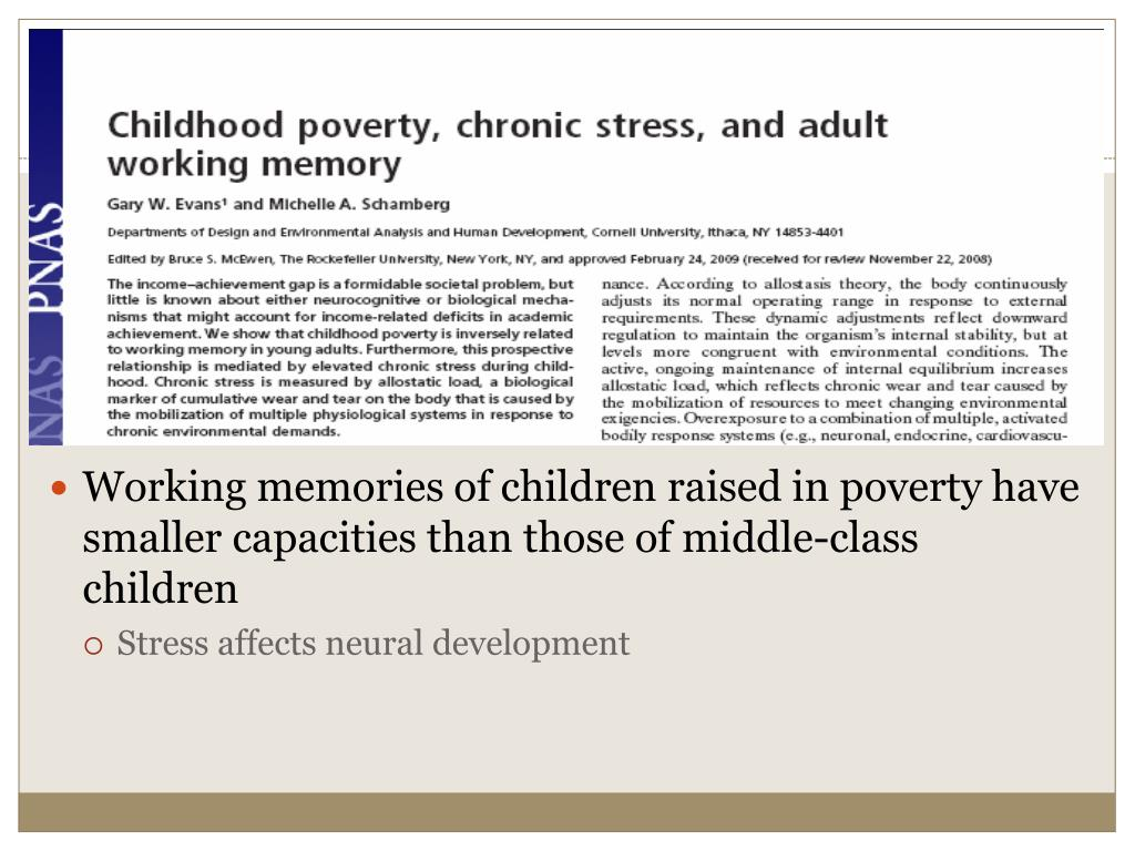 Working memories of children raised in poverty have smaller capacities than those of middle-class children