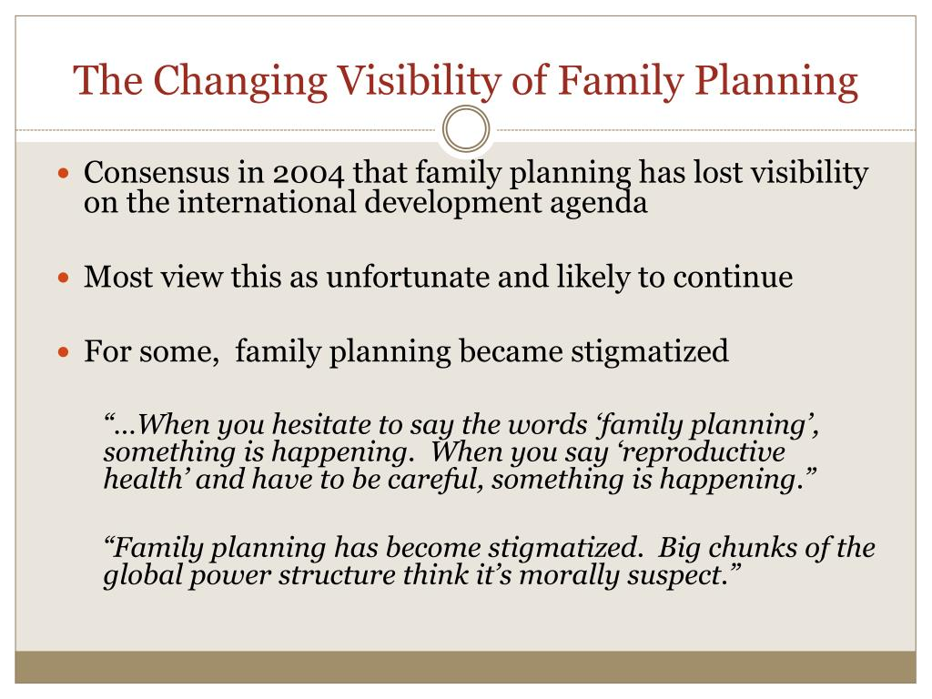 The Changing Visibility of Family Planning