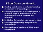 fbla goals continued