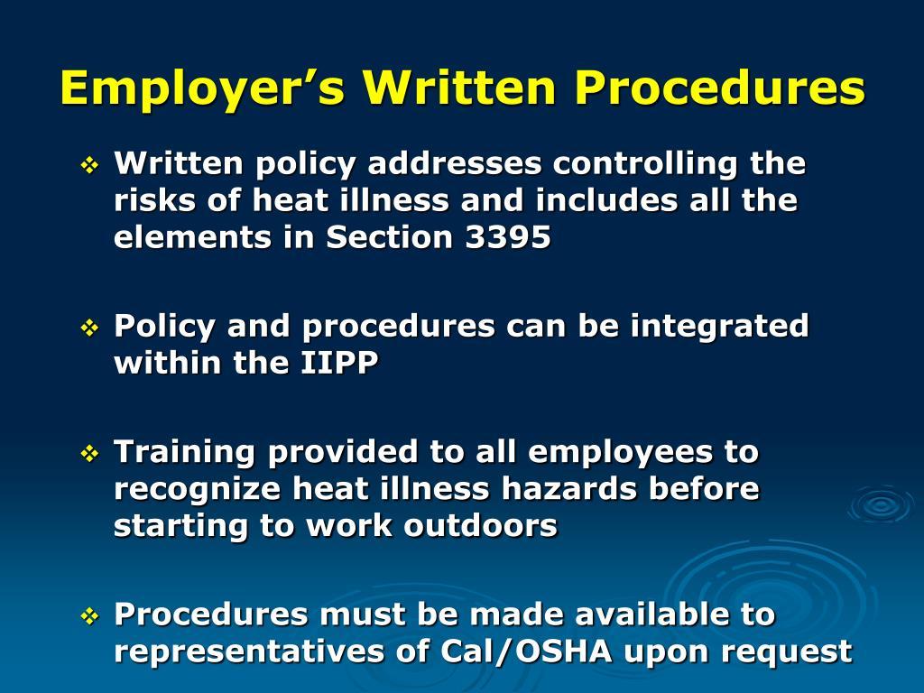 Employer's Written Procedures