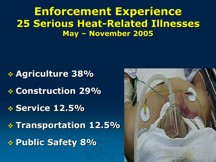 Enforcement experience 25 serious heat related illnesses may november 2005