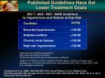published guidelines have set lower treatment goals