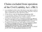 claims excluded from operation of the civil liability act s3b 1
