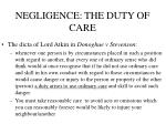 negligence the duty of care
