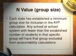 n value group size
