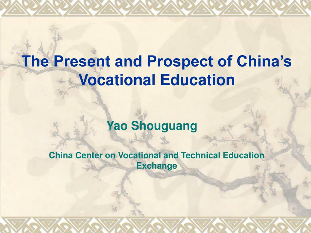 the present and prospect of china s vocational education l.