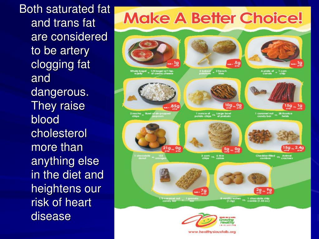 Both saturated fat and trans fat are considered to be artery clogging fat and dangerous.  They raise blood cholesterol more than anything else in the diet and heightens our risk of heart disease