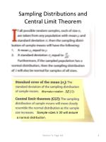 sampling distributions and central limit theorem