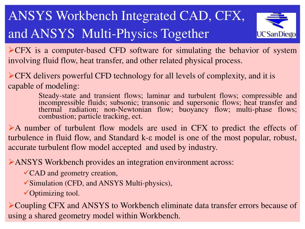 ANSYS Workbench Integrated CAD, CFX,