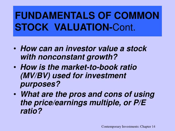 Fundamentals of common stock valuation cont
