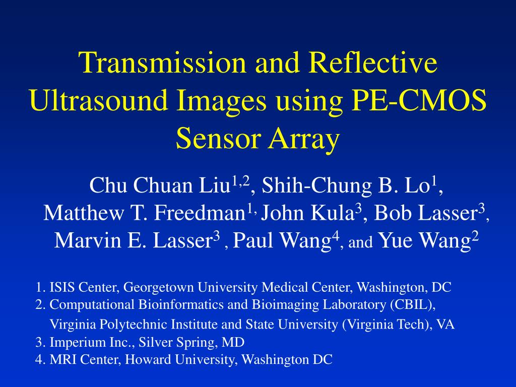 transmission and reflective ultrasound images using pe cmos sensor array l.