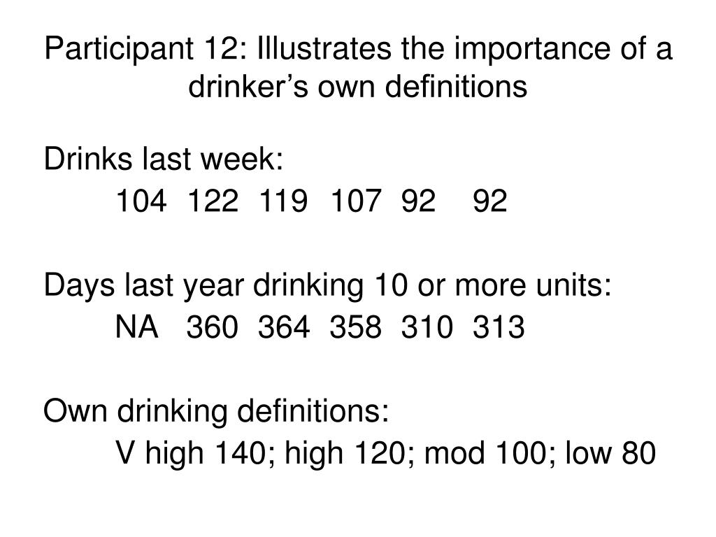 Participant 12: Illustrates the importance of a drinker's own definitions