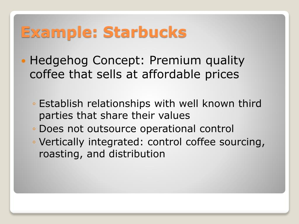 Hedgehog Concept: Premium quality coffee that sells at affordable prices