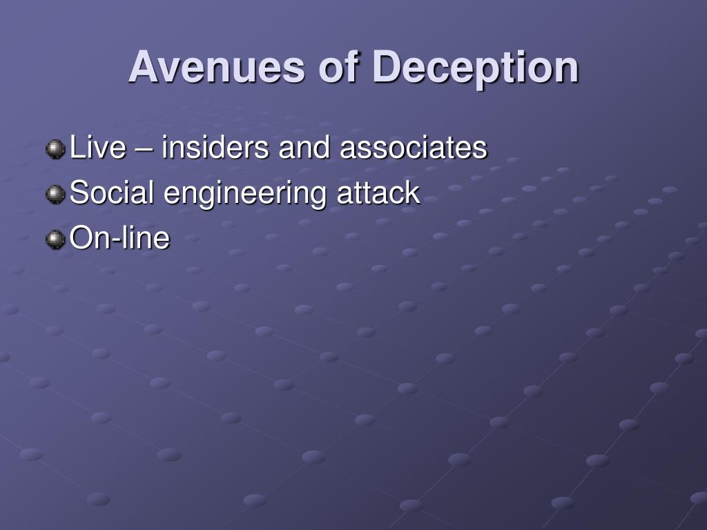 Avenues of Deception