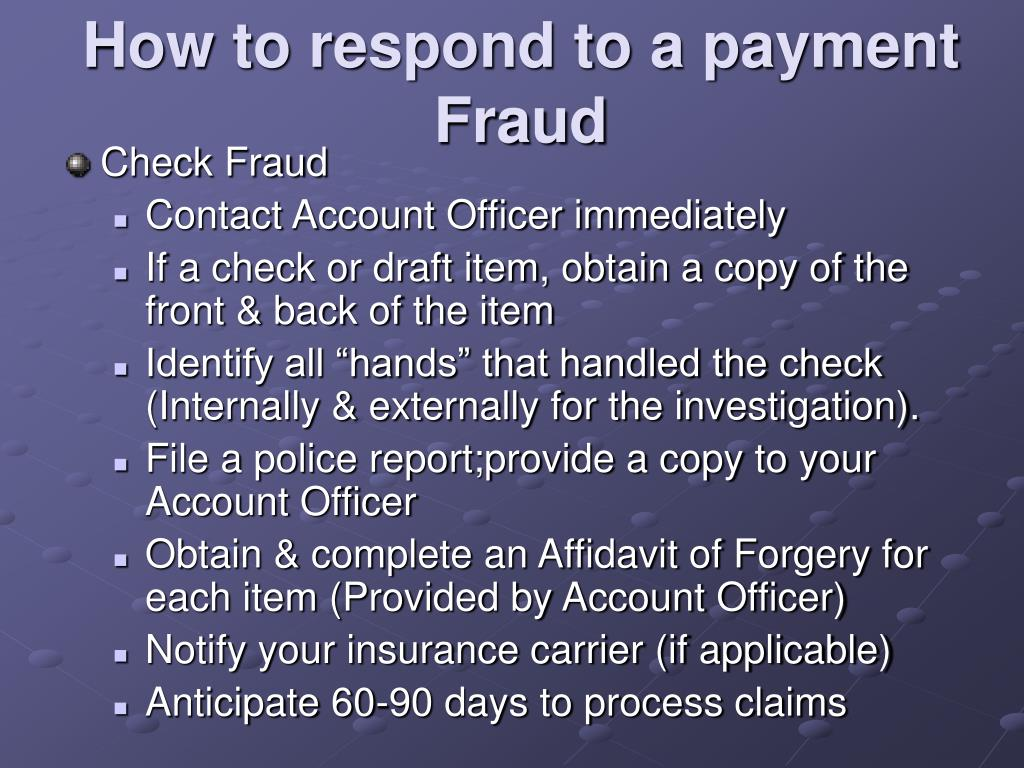 How to respond to a payment Fraud
