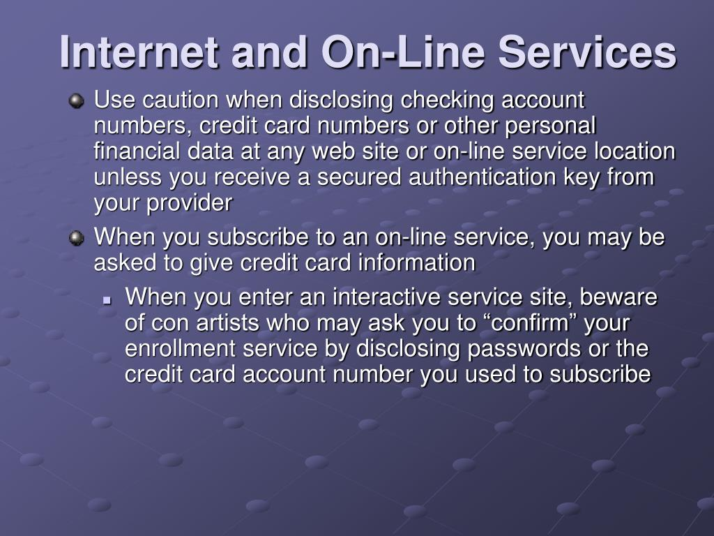 Internet and On-Line Services