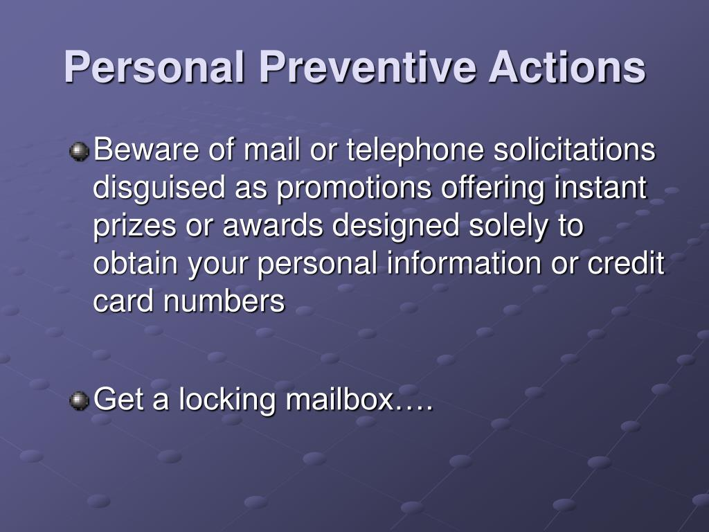 Personal Preventive Actions