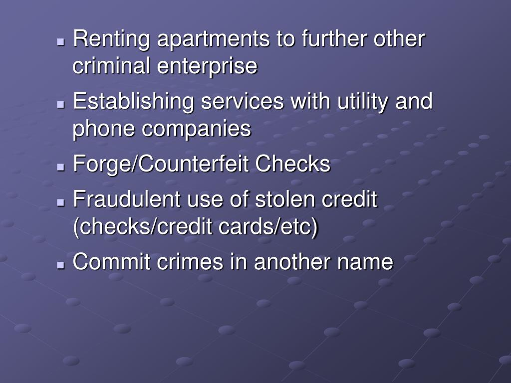Renting apartments to further other criminal enterprise