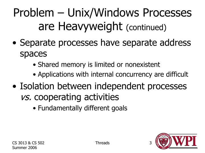 Problem unix windows processes are heavyweight continued