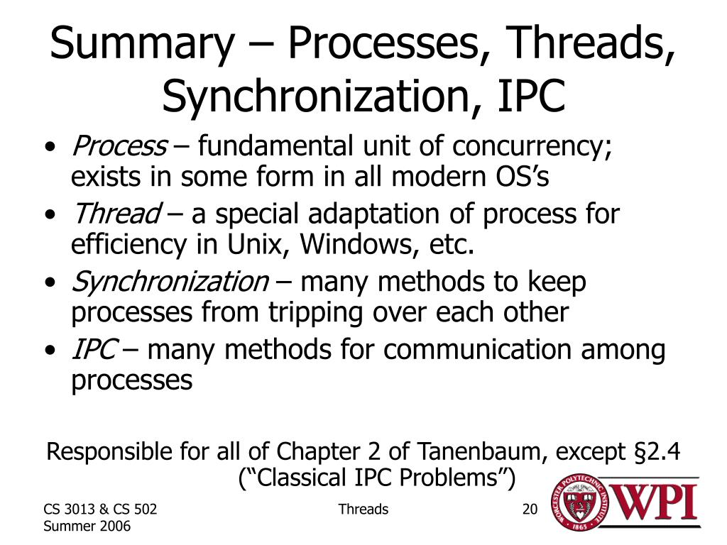 Summary – Processes, Threads, Synchronization, IPC