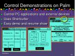 control demonstrations on palm