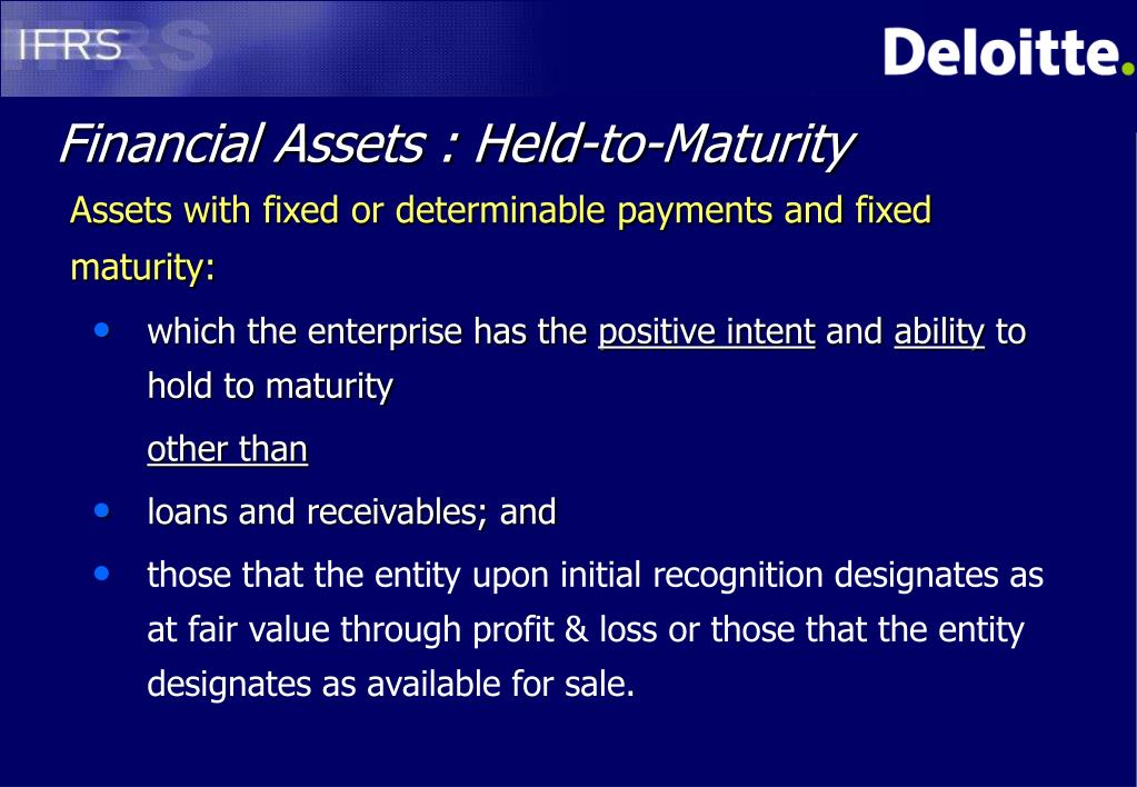 Financial Assets : Held-to-Maturity