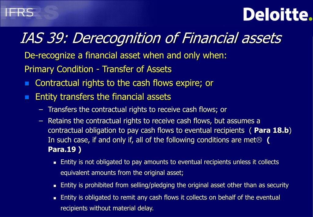 IAS 39: Derecognition of Financial assets