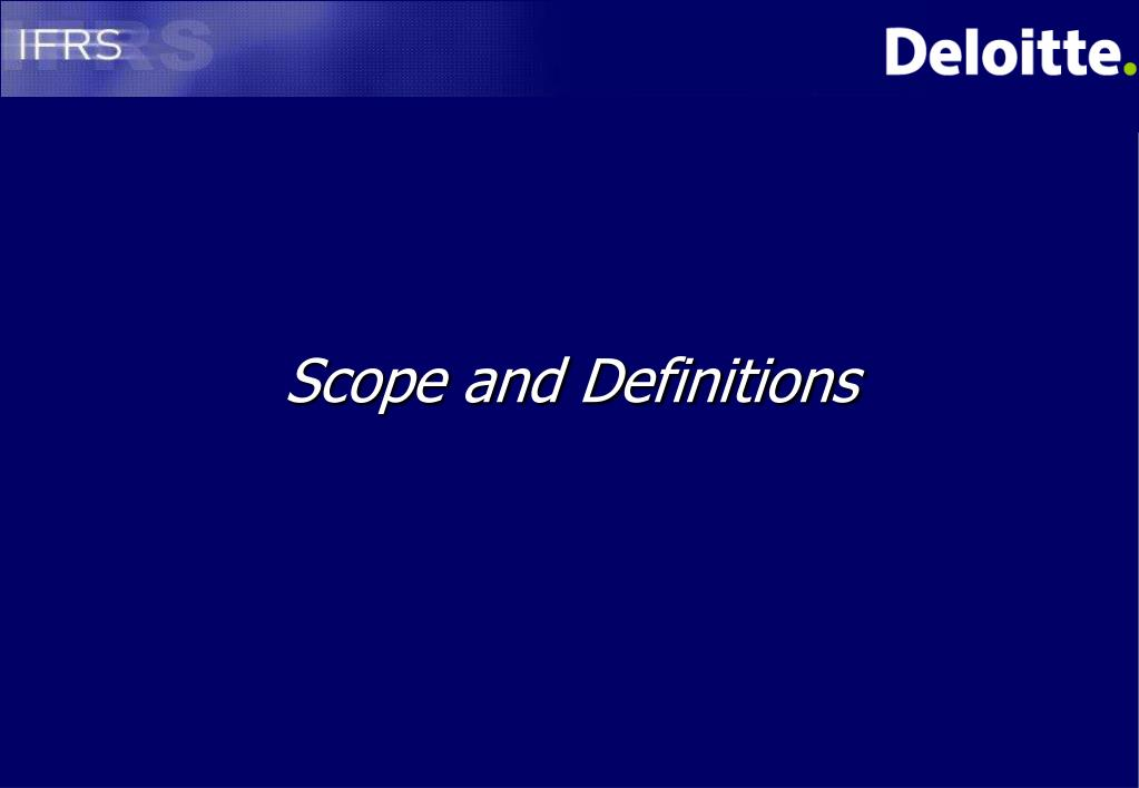 Scope and Definitions