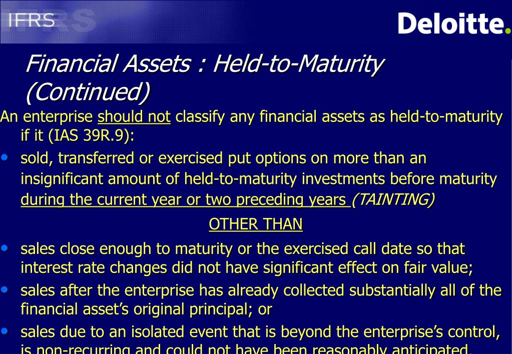 Financial Assets : Held-to-Maturity (Continued)