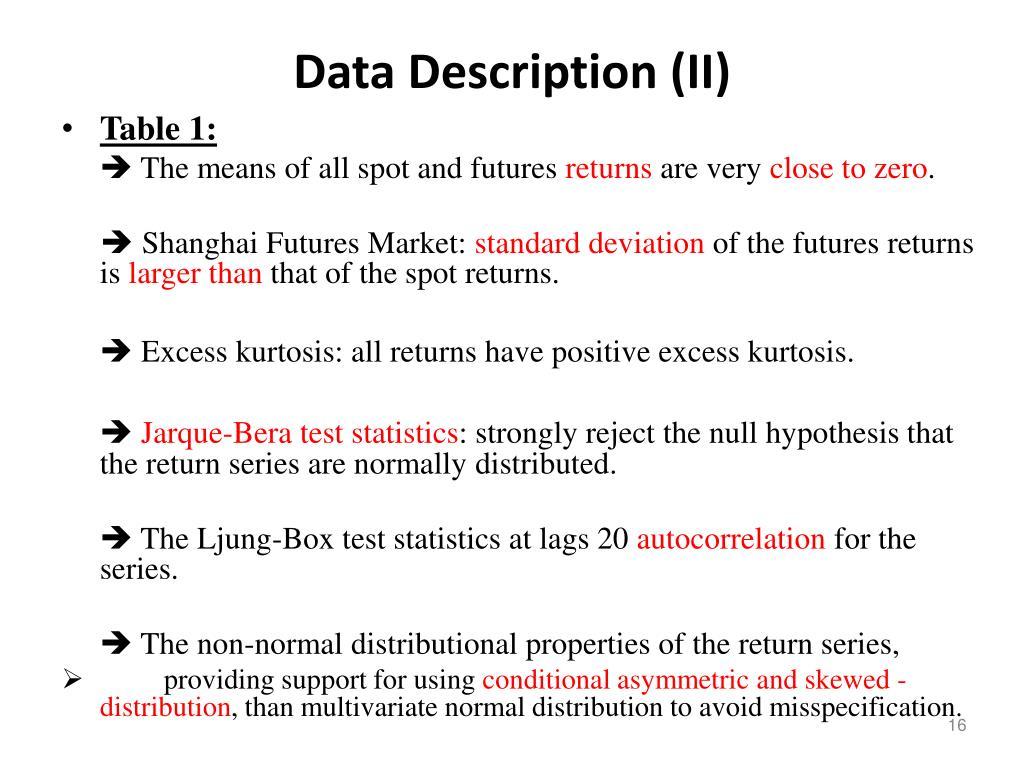 Data Description (II)