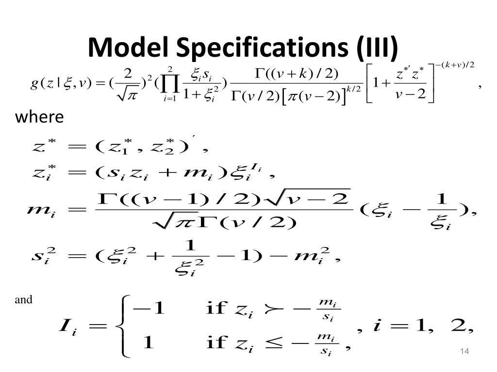 Model Specifications (III)