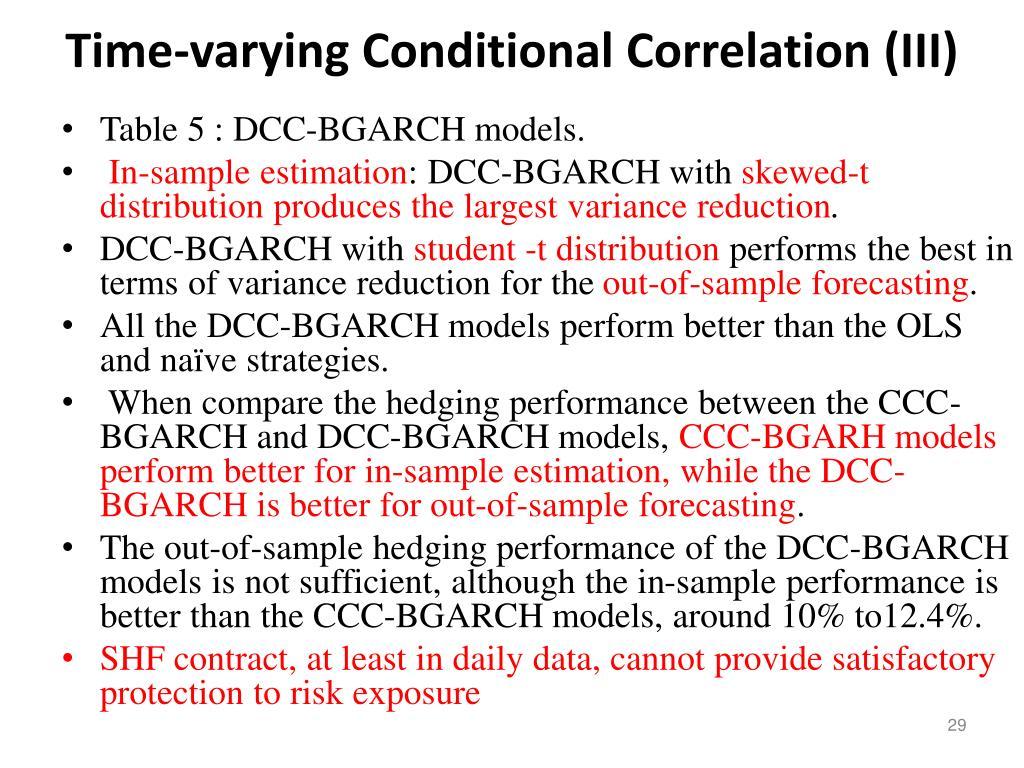 Time-varying Conditional Correlation (III)