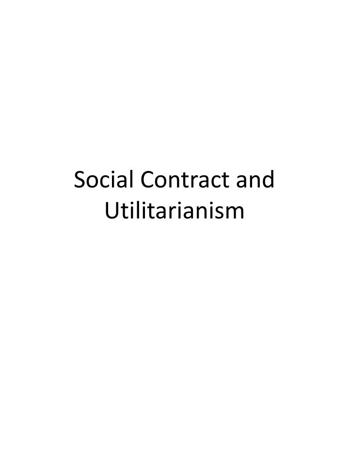 social contract and utilitarianism n.