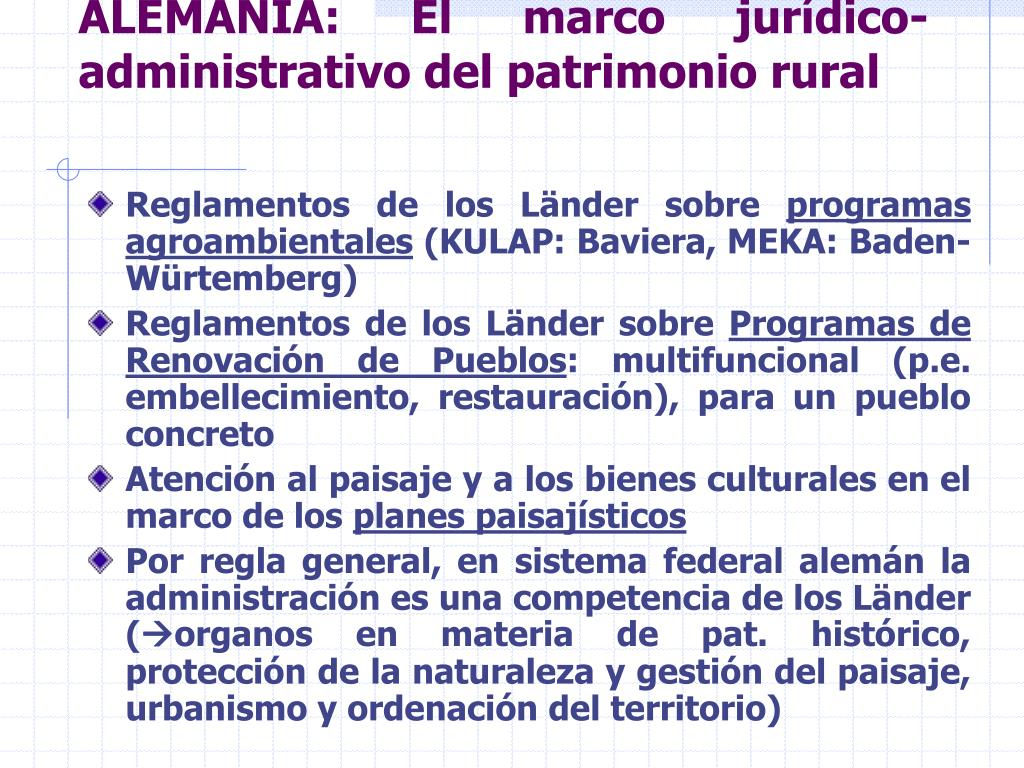 ALEMANIA: El marco jurídico-administrativo del patrimonio rural