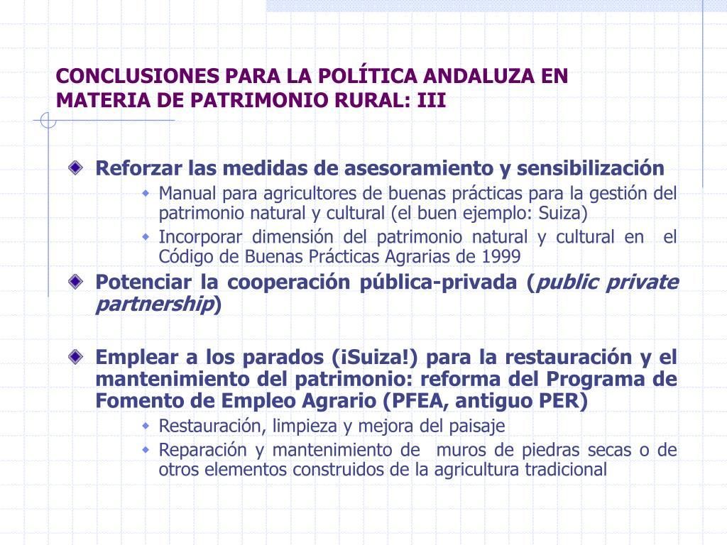 CONCLUSIONES PARA LA POLÍTICA ANDALUZA EN MATERIA DE PATRIMONIO RURAL: III